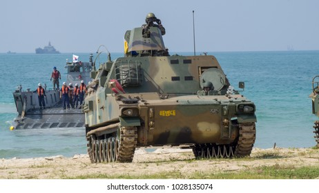 CHONBURI, THAILAND - FEBRUARY 16, 2018: Light tank of South Korea lands on the beach during Cobra Gold 2018 Multinational Military Exercise on February 16, 2018 in Chonburi, Thailand.
