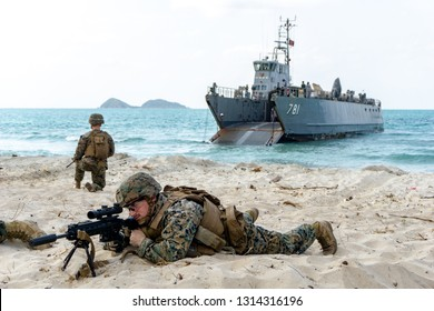 CHONBURI, THAILAND - FEBRUARY 16, 2019: US Marine infantrymen land on target's sea shore during Cobra Gold 2019 Multinational Military Exercise on February 16, 2019 in Chonburi, Thailand.