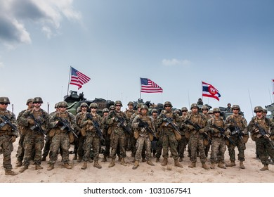 CHONBURI, THAILAND - FEBRUARY 17, 2018: Each country's military and military commanders stand in group shots,Cobra Gold 2018 Multinational Military Exercise on February 17, 2018 in Chonburi, Thailand.