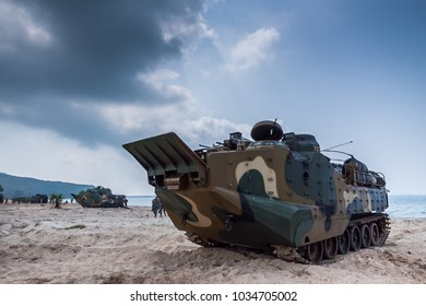 CHONBURI, THAILAND - FEBRUARY 17, 2018: Korea soldiers joint military maneuver Cobra Gold in Thailand. Cobra Gold 2018 Multinational Military Exercise on February 17, 2018 in Chonburi, Thailand.