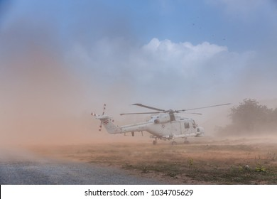 CHONBURI, THAILAND - FEBRUARY 17, 2018: Blackhawk transport helicopters of US. Navy fly in the sky during Cobra Gold 2018 Multinational Military Exercise on February 17, 2018 in Chonburi, Thailand.