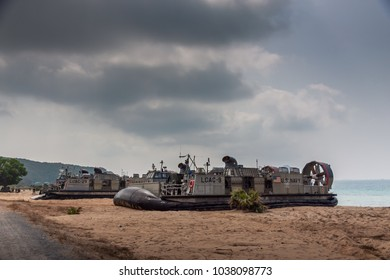CHONBURI, THAILAND - FEBRUARY 17, 2018: A US Navy Landing Craft Air Cushion (LCAC) on Cobra Gold 2018 Multinational Military Exercise on February 17, 2018 in Chonburi, Thailand.