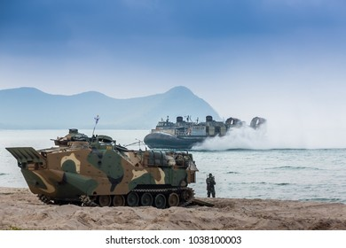 CHONBURI, THAILAND - FEBRUARY 17, 2018: Assault amphibious vehicles of South Korea sail along the sea during Cobra Gold 2018 Multinational Military Exercise on February 17, 2018 in Chonburi, Thailand.