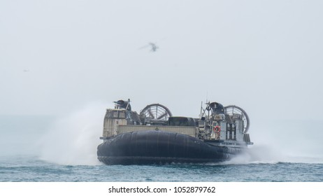 CHONBURI, THAILAND - FEBRUARY 17, 2018:  US Marine Corps Landing Craft Air Cushion or LCAC sails in the sea during Cobra Gold 2018 Multinational Military Exercise on February 17,2018 in Chonburi.