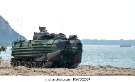 CHONBURI, THAILAND - FEBRUARY 17, 2018: US Marine amphibious assault vehicles land on sea shore during Cobra Gold 2018 Multinational Military Exercise on February 17, 2018 in Chonburi, Thailand.