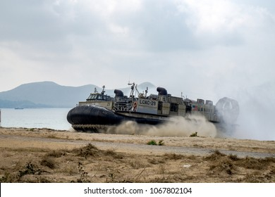 CHONBURI, THAILAND - FEBRUARY 17, 2018: US Marine Corps Landing Craft Air Cushion or LCAC lands on the beach during Cobra Gold 2018 Multinational Military Exercise on February 17,2018 in Chonburi.