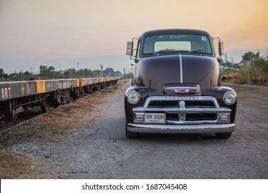 CHONBURI, THAILAND - February 28, 2020: The 1954 Chevrolet COE Truck parking street in the train station.