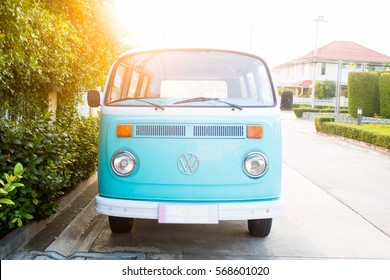 Chonburi, Thailand - January 29th 2017: Classic Blue Volkswagen van with sunlight.