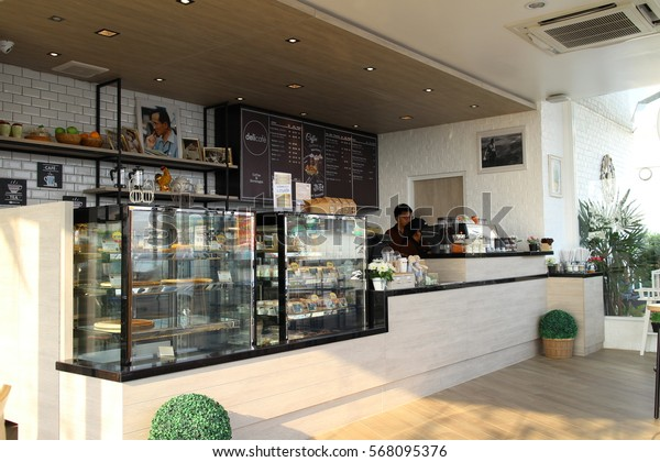 Chonburi Thailand , January 31 - 2017 : coffee shop and bakery in Thailand model style