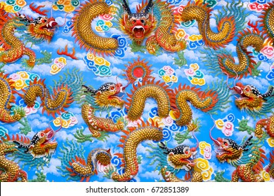 CHONBURI, THAILAND JULY 23, 2016 : Dragon art on the wall in the Shrine for Nezha's Tai Tzu-Naklua Great example of Chinese Taoist temple's a must visit for those who like temple architecture.