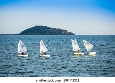 CHONBURI, THAILAND - JULY 24 : The group of student are training sailing in the sea at Sattahip bay in Chonburi province,Thailand on July 24,2015.