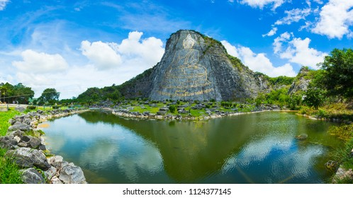 CHONBURI, THAILAND - JUNE 1 : Khao Chee Chan, Buddha Mountain, Chonburi, Pattaya, Thailand - June 1, 2018. The Buddha cliff of Khao Chee Chan largest buddha is carved by laser.