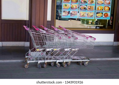Chonburi Thailand , March 03 - 2019 : shopping cart in supermarket
