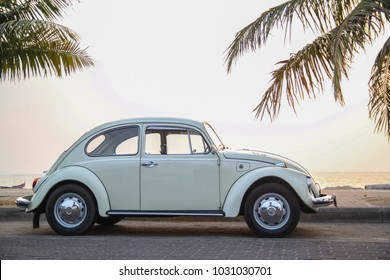 CHONBURI, THAILAND - March 10, 2017: The 1964 Volkswagen Beetle parking at the seaside on street.