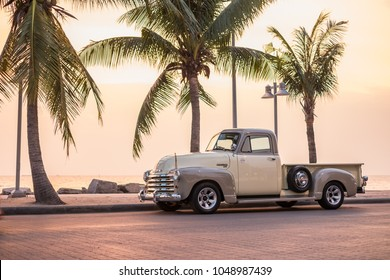 CHONBURI, THAILAND - March 14, 2018: The 1947 Chevrolet Truck parking at the seaside on street.