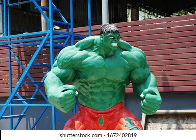 CHONBURI, THAILAND – MARCH 14, 2020: Hulk model display sitting in front of a car service center in Chonburi Province of Thailand.