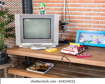 Chonburi, Thailand - March 25, 2017: Nintendo family computer, the video game console for home or portable gaming.