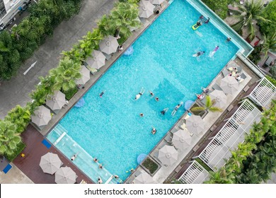 Chonburi, Thailand – May 12, 2018 : Top view of roof top swimming pool in luxury hotel