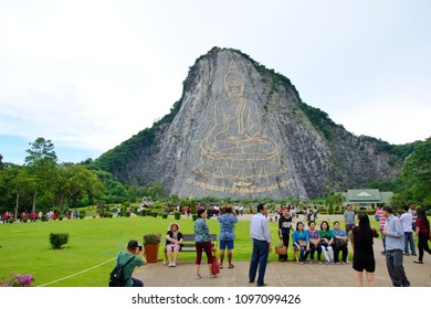 CHONBURI, THAILAND - May 22, 2018 : Buddha Mountain (Khao Chee chan). Khao chee chan the largest buddha carved in the world, Pattaya, Thailand