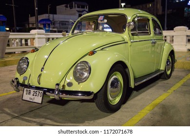 CHONBURI, THAILAND - May 5, 2018: The 1964 Volkswagen Beetle parking at the seaside on street.