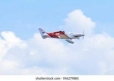 CHONBURI - THAILAND Nov, 20 : Steve Temple in his plane no.87 of Madness Team, during the Air Race 1 Thailand champion ship on November 20, 2016 at U-Tapao International Airport, Chonburi, Thailand