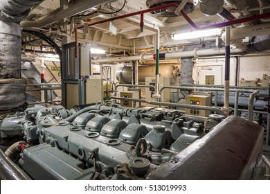 """Chonburi, THAILAND - NOVEMBER 9, 2016. The engine room of the ship with the """"MAN"""" diesel engine and component."""