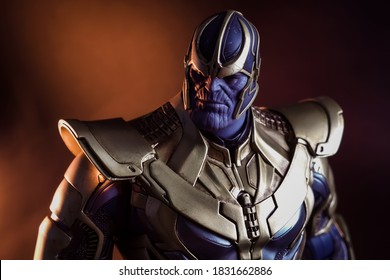 Chonburi, Thailand - October 12, 2020: Thanos character from Marvel Comic on Black background.