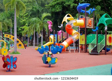 Chonburi Thailand , October 27 - 2018 : Play ground in the public park at Chonburi Thailand.