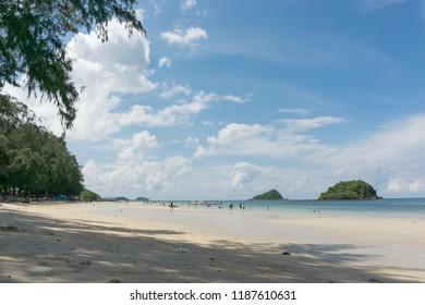 Chonburi, Thailand - Sep 23,2018 : Unidentified peoples are enjoying at Nangrum beach (Sattahip Bay)
