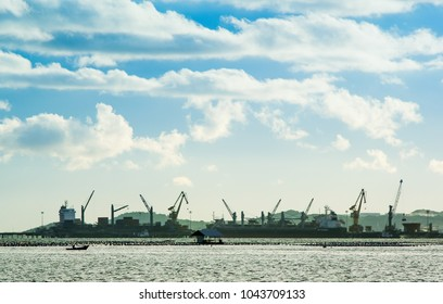 CHONBURI, THAILAND - SEP 24 : View of Laem Chabang port in Chonburi, Thailand on 24 September 2017