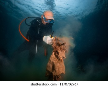 Chonburi, Thailand - Sep 26, 2018: Mr.Korn clean up and pick up the garbage under the sea at Kho Sichang , Chonburi province  Thailand