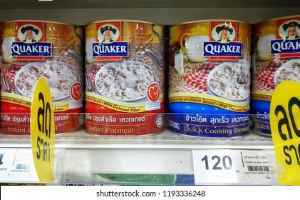 Chonburi THAILAND Sep 30,2018:Quaker instant oatmeal Placed on a shelf in a supermarket.