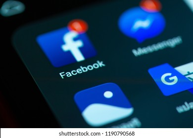 Chonburi, Thailand - September 29, 2018: Facebook social media icon on smartphone close up. During this period application facebook has announce 50 million accounts  may be 'directly affected' by hack