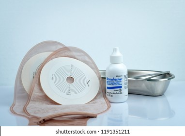 CHONBURI, THAILAND-AUGUST 3, 2018 : Stomahesive protective powder. Stomahesive product of Convatec. Stoma care products and one piece drainable ileostomy or colostomy pouch products.