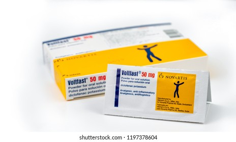 CHONBURI, THAILAND-AUGUST 3, 2018 : Voltfast 50 mg. Diclofenac potassium product of Novartis. Manufactured by Mipharm, Italy for Novatis Pharma, Switzerland. Anti-inflammatory, analgesic. Painkiller.