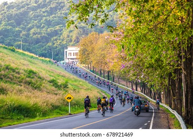 CHONBURI, THAILAND-FEB 5, 2017 : Tour of Bangsaen Cycle Race, passes through Bangphra to Bangsaen , Chonburi. Thailand