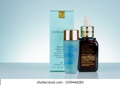 CHONBURI, THAILAND-MAY 8, 2019 : Estee Lauder Advanced Night Repair Synchronized Recovery Complex II and Estee Lauder Micro Essence. Facial serum and facial lotion bottle on white background. Skincare