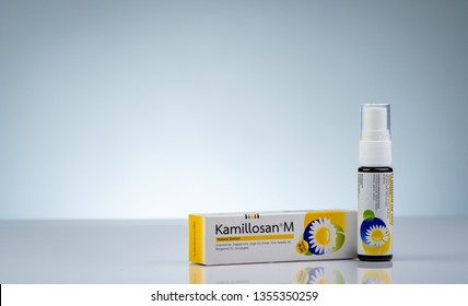 CHONBURI, THAILAND-OCTOBER 11, 2018 : Kamillosan M in bottle with sprayer. Essential oils and active substances of Chamomile for acute and chronic diseases of buccal, pharyngeal cavities. Sore throat