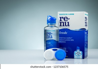 CHONBURI, THAILAND-OCTOBER 14, 2018 : Re-nu fresh multi-purpose solution. Fresh lens comfort removes protein daily disinfects. Cleans, rinses, stores for soft contact lenses. Bausch and Lomb product.