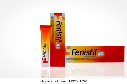 CHONBURI, THAILAND-OCTOBER 27, 2018 : Fenistil gel. Dimethindene maleate gel for antiallergic, antipruritic, antihistaminic. For treatment urticaria, insect bites, sunburn, superficial burns.
