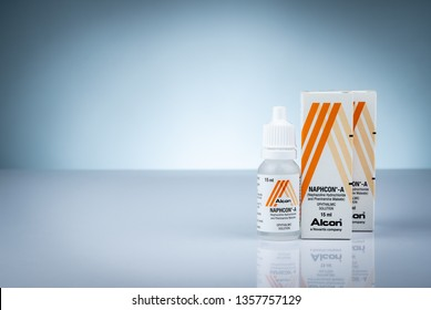 CHONBURI, THAILAND-OCTOBER 27, 2018 : Naphcon-A sterile ophthalmic solution. Sterile eye drop. Naphazoline and pheniramine. Eye drop bottle and packaging.