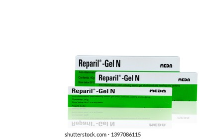 CHONBURI, THAILAND-OCTOBER 27, 2018 : Reparil gel N. Aescin and diethylamine salicylate gel for anto-inflammatory, pain relieving aescin gel which combats swelling and oedema. Pharmaceutical product.