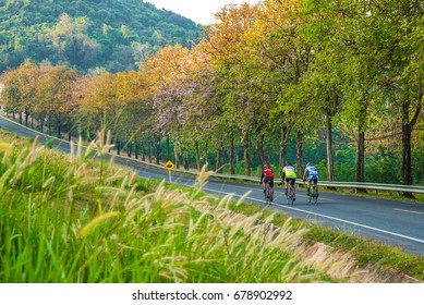 CHONBURI,FRANCE-FEB 5: Tour of Bangsaen Cycle Race, passes through Bangphra, Bangsaen  on February 5, 2017 in Bangsaen, Chonburi. Thailand