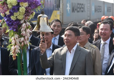 CHONBURI-JANUARY 23 : The transfer ceremony of Diesel-electric locomotive to State Railway of Thailand on 23 January 2015 at Sriracha junction in Sriracha, Chonburi, Thailand