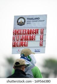 CHONBURI,THA-DEC 15: The score board during Asia Tour Thailand Golf Championship 2013 at Amata Spring Country Club on December -15, 2013 in Chonburi, Thailand.