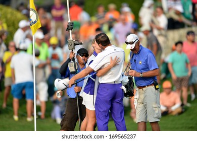 CHONBURI,THA-DEC 15: Sergio Garcia with wife in action during Asia Tour Thailand Golf Championship 2013 at Amata Spring Country Club on December -15, 2013 in Chonburi, Thailand.