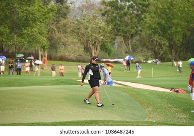 CHONBURI,THAILAND - 25FEB2018: Areya jutanugarn[w] of thailand in action during Honda LPGA Thailand at Siam Country Club old course on February 25, 2018 in Chon Buri, Thailand
