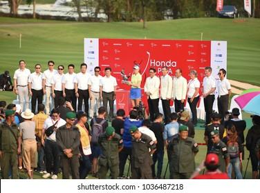 CHONBURI,THAILAND - 25FEB2018: Jessica KORDA of USA get trophy champion Honda LPGA Thailand at Siam Country Club old course on February 25, 2018 in Chon Buri, Thailand