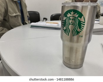 Chonburi,Thailand - August 18,2019 : Starbucks logo on a fake Yeti cup in meeting room. (Piracy concept)
