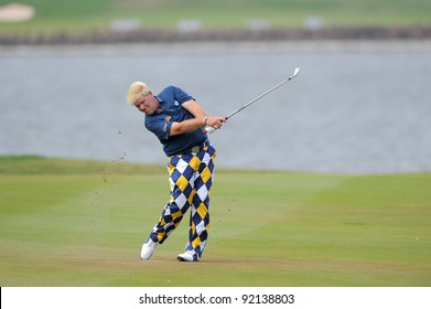CHONBURI,THAILAND - DECEMBER 16:John DALY of UNITED STATES in action during day two of the Thailand Golf Championship at Amata Spring Country Club on December 16, 2011 in Chonburi province, Thailand.